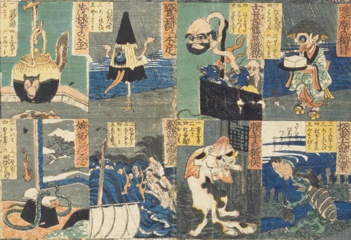 Kara-kasa y otros yokai en el Banashi Bakemono Sugoroku, de Utakawa Yoshikazu.